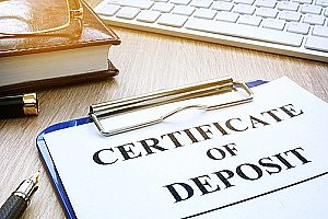 an application form for a certificate of deposit for a bank in Fairfax, VA