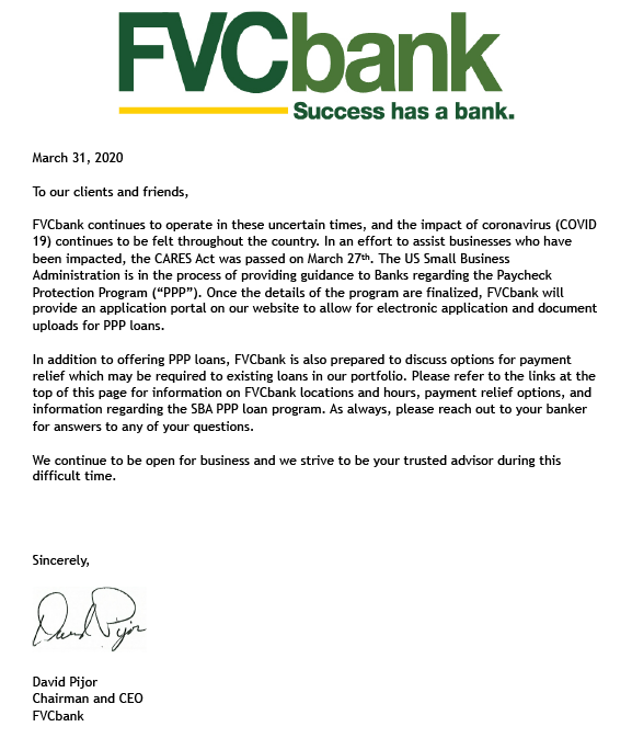 Message from FVCBank CEO